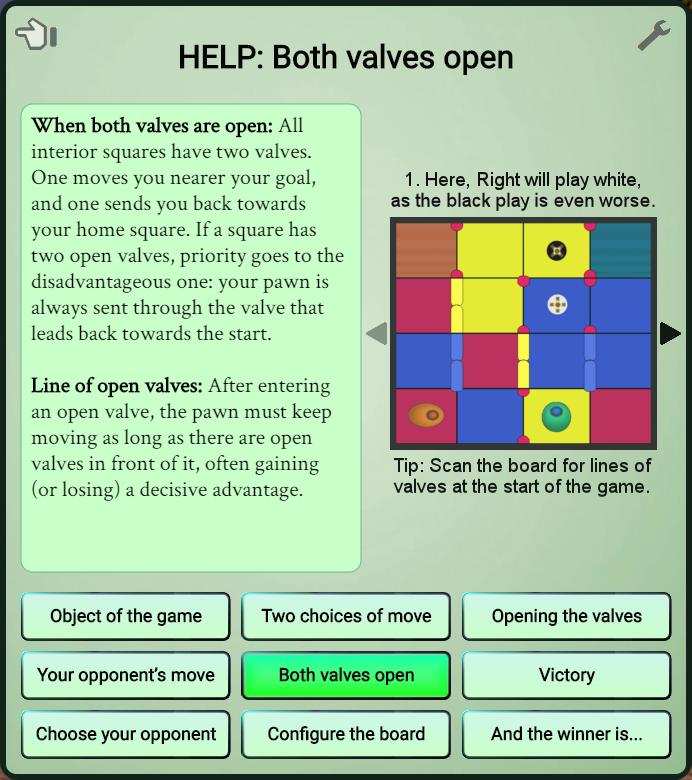 The Valvo help screen